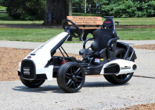 First Drive Kids Electric Go Kart 12V White - Electric Power Ride On Toy Kids Car