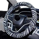 Carmen Linen Car Steering Wheel Cover Boho Ethnic Style Corase Linen 15 Inch/38cm Universal Steering Grip Protector Auto Interior Accessories (E)