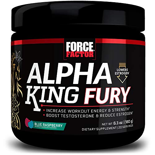 Alpha King Fury Testosterone Booster and Pre Workout for Men with Fenugreek Seed and L-Citrulline to Reduce Estrogen and Fuel Workout Performance, Drink Powder Supplement, Force Factor, 20 Servings