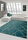 Merinos Orientteppich Wohnzimmer Teppich Geometrisches Muster in Türkis Bronze Größe 80 x 250 cm