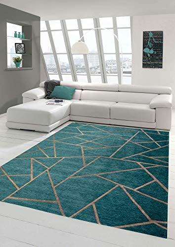 Merinos Orientteppich Wohnzimmer Teppich Geometrisches Muster in Türkis Bronze Größe 160x230 cm
