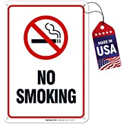 No Smoking Sign, 10x7 Heavy 0.40 Aluminum, UV Protected, Long Lasting Weather/Fade Resistant, Easy Mounting, Indoor/Outdoor Use, Made in USA by SIGO SIGNS