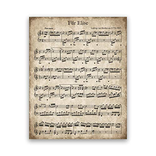 Fur Elise Vintage Sheet Music Poster Beethoven Classical Piano Music Print Christmas Song Decoration Canvas Painting Picture-40x50cm No Frame