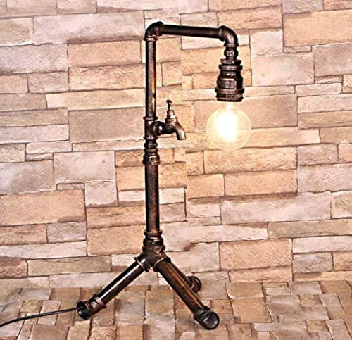 DKee Lámparas de mesa Lámpara de mesa de escritorio para tubos de agua para tubos industriales vintage para bares de barras de bares, cobre, a