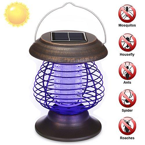 Energia Solare zanzariera elettrica da Esterno per Giardino - Lampada Antizanzare Elettrico Mosquito Killer con Luce UV zanzariera elettrica Esterno B