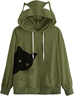 Blouses for Womens,DaySeventh Womens Cat Long Sleeve Hoodie Sweatshirt Hooded Pullover Tops Blouse