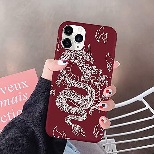 TDG Fundas Divertida Caja del Teléfono Red Dragon para iPhone 12 11 Pro XS MAX Se 2020 XR 7 X 8 6Plus Funda De Silicona Suave Animal De Moda para Iphone7 Se2020 Style 5
