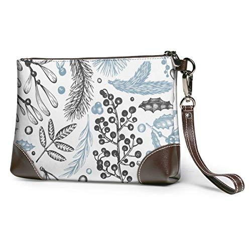 BFDX Weihnachten Nahtlose Pflanzen Nadel Holly Mistel Leder Wristlet Clutch Geldbörsen Tasche Crossbody Clutch Wallet Handtaschen für Frauen