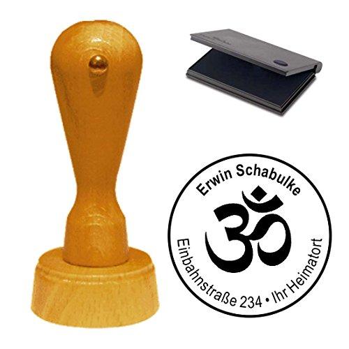 Stempel mit Kissen « HINDUISMUS SYMBOL » Durchmesser ca. Ø 40 mm - mit persönlicher Adresse und Motiv - Yoga Reiki Om Zeichen