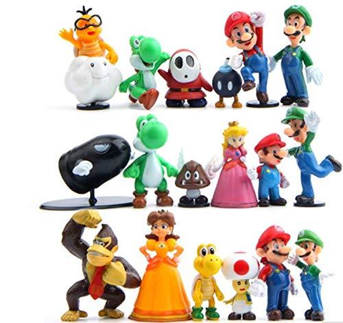 Tronzo Pack Lote 18 unids/Set Super Mario Bros Figura de acción tamaño 3-7 Luigi Mario Pendula Yoshi Donkey Kong Goomba Juguetes