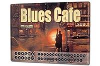 カレンダー Perpetual Calendar Holiday Travel Agency G. Huber Blues cafe Tin Metal Magnetic