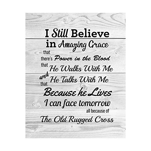"""""""Still Believe-Amazing Grace-Old Rugged Cross""""-Gospel Hymns Wall Art-8 x 10 Christian Song Lyric Print w/Distressed Wood Design-Ready to Frame. Perfect Religious Home-Office-Cabin-Lake House Decor!"""