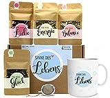 Sinne des Lebens Tee Geschenk-Set mit 4 verschiedene Sorten & Tee-Ei und Tasse mit Namen...