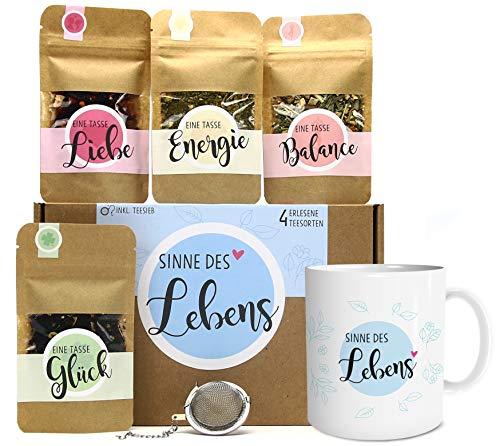 Sinne des Lebens Tee Geschenk-Set mit 4 verschiedene Sorten & Tee-Ei und Tasse mit Namen personalisiert Geschenkidee für mehr Ausgeglichenheit