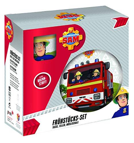 P:os 27123 - Frühstücksset mit Feuerwehrmann Sam Motiv, 3-teiliges Geschirrset für Kinder, aus Keramik, bestehend aus Teller, Schale und Tasse, spülmaschinengeeignet