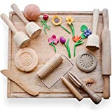 KOOKAROO Playdough Tools for Kids   7 Wooden Playdough Toys + 1 Wooden Board   Playdough Sets for Kids   Play Dough Accessories for Toddler   Sensory Toys   Kinetic Sand Tools   Kids Clay Toys.