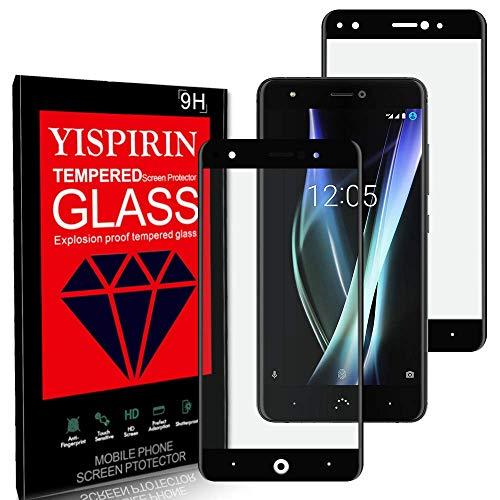 YISPIRIN [2 Piezas] Cristal Templado para BQ AQUARIS X, Dureza 9H, Anti-Rasguño,Cobertura Completa, Vidrio Templado Protector de Pantalla para BQ AQUARIS X (Negro)