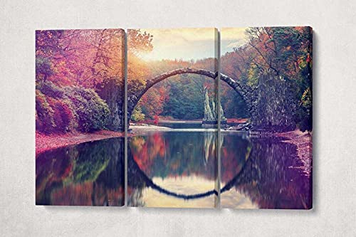 Cuadro En Lienzo -Impresión 3 Piezas Material Tejido No Tejido Impresión Artística Imagen Gráfica Decoracion Pared Regalo Creativo Xxl-Listo Para Colgarpuente Rakotz,Rakotzbrücke Sajonia Alemania