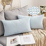 MIULEE Fundas Cojines para Cama Funda de Almohada de Pana Cojin Rectangular de Sofa Mix Color Poliéster Decoracion para Habitacion Dormitorio Oficina Silla Salon Comedor 2 Pieza 30x50cm Azul y Blanco