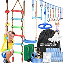 Ninja Warrior Obstacle Course for Kids - 50ft Slackline with 10 Accessories, Climbing Rope Ladder, Swing Set, Ninja Wheel, Monkey Bar Fists, Gym Rings - Become a Ninja Warrior (12 Attachments)