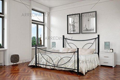 Letto Matrimoniale in Ferro Colore Nero Grafite con PEDIERA PREDISPOSTO per Rete con Piedini 160 X 190 CM. Non Inclusa - Prodotto Made in Italy - ARR066
