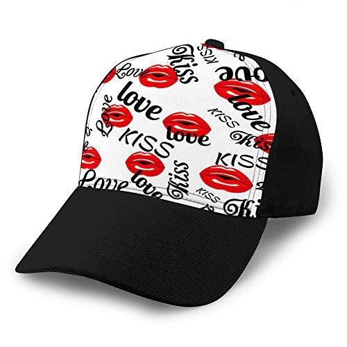 Holefg3b Sombrero Gorra de béisbol de algodón Gorra Simple Patrón de Gorra Ajustable con Labios Rojos Que...