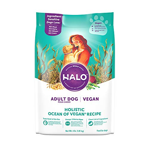 HALO Vegan Dry Dog Food - Premium and Holistic Ocean of Vegan Recipe - 4 Pound Bag - Sustainably Sourced Adult Dry Dog Food - Non-GMO and Made in The USA
