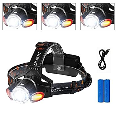 Headlamp,icefox IPX6 Water Resistant Long Battery Life LED Headlamp Rechargeable with 5000 Lumens Provide Safe for Your Outdoor Activities
