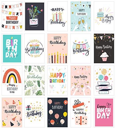 Edition Seidel Set 20 Geburtstagskarten Postkarten Geburtstag Karten Glückwunschkarten