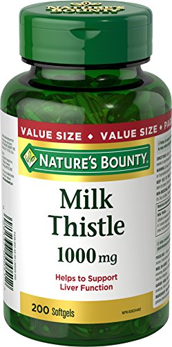 Nature's Bounty Milk Thistle Pills and Herbal Health Supplement, Helps Supports Liver Function, 1000mg, 200 Softgels