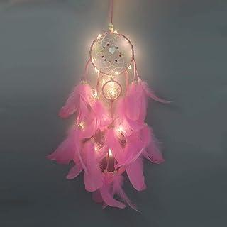 Decdeal Attrape Reve en Plumes, avec lumière LED, décoration portative Faite Main, décoration, Accessoire de Photographie