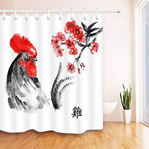 JHTRSJYTJ Huhn & Pflaume Duschvorhang ist geeignet für Badezimmer,Polyester wasserdicht,12Haken,180X180cm,Wohnkultur