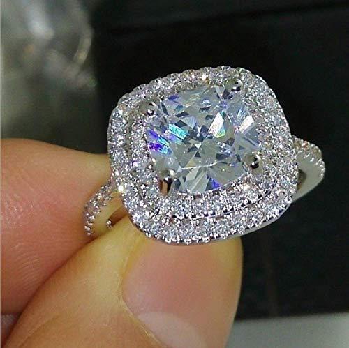 Anillo de compromiso de plata de ley 925 con piedra de circonia de 4 quilates, 5 A, anillo de compromiso, anillos de compromiso, anillos de boda para mujer, talla 6 – 10