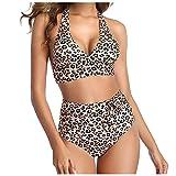 VODMXYGG Traje de baño de Moda para Mujer con Estampado de Leopardo Sexy Bikini de Cintura Alta Dividida Mujer Brasileños Bikinis 0916592