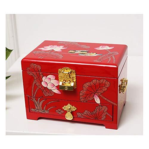 Joyero con tapa de vidrio Joyería antigua caja de joyería de madera orientales Caja de almacenamiento caja de laca roja con Espejo de pintado a mano regalo for la familia Amigos Joyero de madera