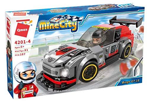 Qman 4201-4 Mine City Binge GT-15 Rennwagen Auto Klemmbaustein-Set für Kinder ab 6 Jahre
