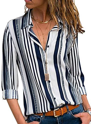 Aleumdr Donna Camicia, Camicetta Blusa Elegante Donna Manica Lunga Casual Sexy Ufficio Camicetta Elegante Top Primavera Estate