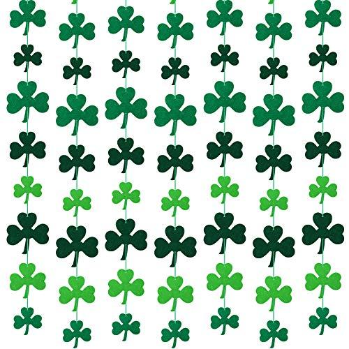 100 Piezas Decoraciones de Trébol de San Patricio Adornos Colgantes de Trébol Bandera de Trébol Guirnalda de Hilo de Fieltro de Trébol para San Patricio Decoración de Fiesta Irlandesa
