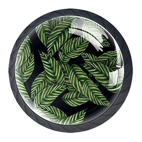 Grüne Blätter Hardware Werkzeuge,Schubladengriffe Schrankgriffe Heimwerker Werkzeugsätze-4 Stück 3.5x2.8cm