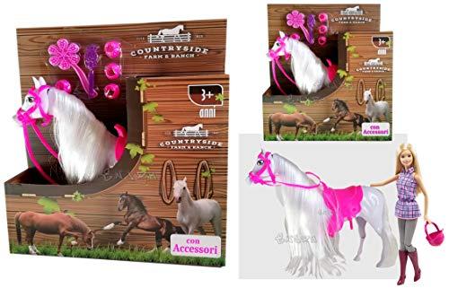 loco by crazy shoes Cavallo per Bambole Cavallino Rosa Principessa Equitazione con Accessori Cavallino per Bambole Fashion.