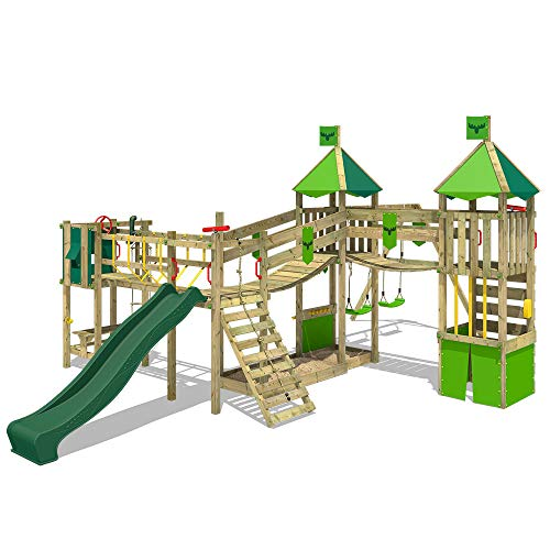 FATMOOSE Spielturm Klettergerüst FunnyFortress Free XXL mit Schaukel & grüner Rutsche, Fettes Garten-Spielgerät mit Sandkasten, Kletterwand & viel Spiel-Zubehör