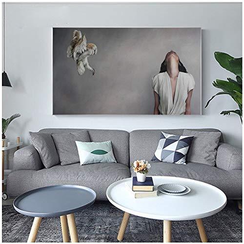 Geiqianjiumai Impresión Moderna en Lienzo Hermosa Dama Flor Pintura Pluma Pared Pintura Chica nórdica Cartel decoración Imagen Sala sin Marco Pintura 40x60 cm
