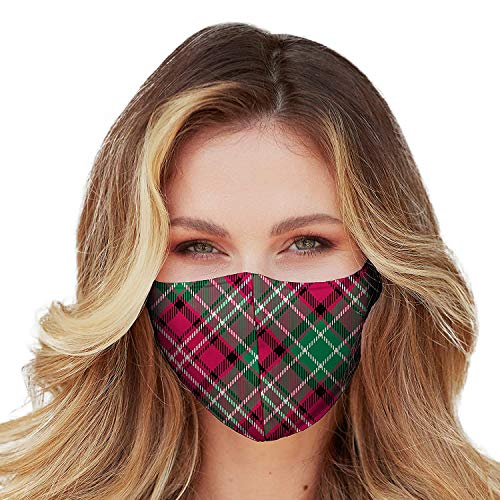 Christmas Face Mask Washable with Adjustable Earloops & Nose Wire - 3 Layers, 100% Cotton Inner Layer - Cloth Reusable Face Protection with Filter Pocket - Made in USA (Christmas Plaid)