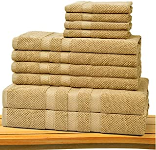 COTTON CRAFT - Rice Weave 10-Piece Towel Set in Linen, Luxurious 100% Cotton, Heavy Weight & Absorbent, Set with 2 Oversized Large Bath Towels, 4 Hand Towels & 4 Wash Cloths