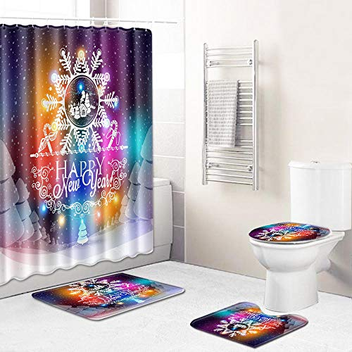 Ginsenget 4-Piece Shower Curtain Set Bathroom Non-Slip Pedestal Rug+Lid Toilet Cover+Bath Mat+Shower curtain with 12 Hooks,Christmas