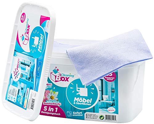 CleaningBox Feuchte 5-in-1 Mikrofaser Reinigungstücher Wischtücher Möbel & Oberflächen, 35x Feuchttücher für Möbel, Duft Sommerfrische, Blau 40x30 cm - Biologisch abbaubar und Made in Germany