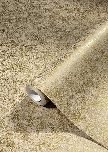 Tapete Gold - Uni - Vliestapete Modern, Klassisch, Opulent - für Schlafzimmer, Wohnzimmer oder Küche - 10,05m x 0,53m - Made in Germany