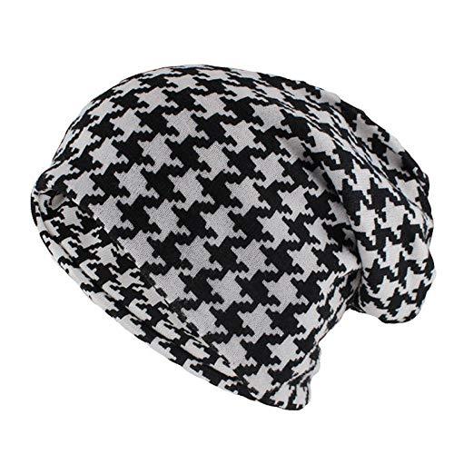 YLNNB Hip Hop Damenmode Hut Hahnentritt Herbst Warme Mützen Skullies Plaid Lässige Gorros Weicher Schal Double Use Adult Hats