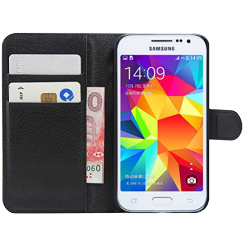 HualuBro Cover per Samsung Galaxy Core Prime, Flip Case Cover in PU Pelle Stand Antiurto Portafoglio [Slot Carte] Leather Wallet Phone Protettiva Custodia per Samsung Galaxy Core Prime (Nero)