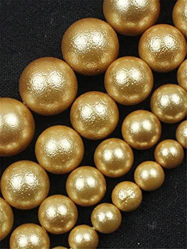 Perlas de concha de oro natural sueltas cuentas espaciadoras para hacer joyas DIY pulsera collar accesorios 15 pulgadas 6/8/10/12 mm oro 10mm aprox 38beads
